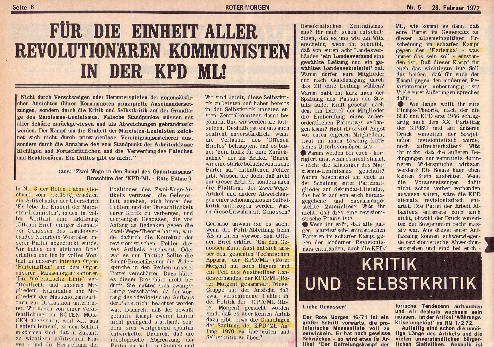 Roter Morgen, 6. Jg., 28. Februar 1972, Nr. 5, Seite 6a