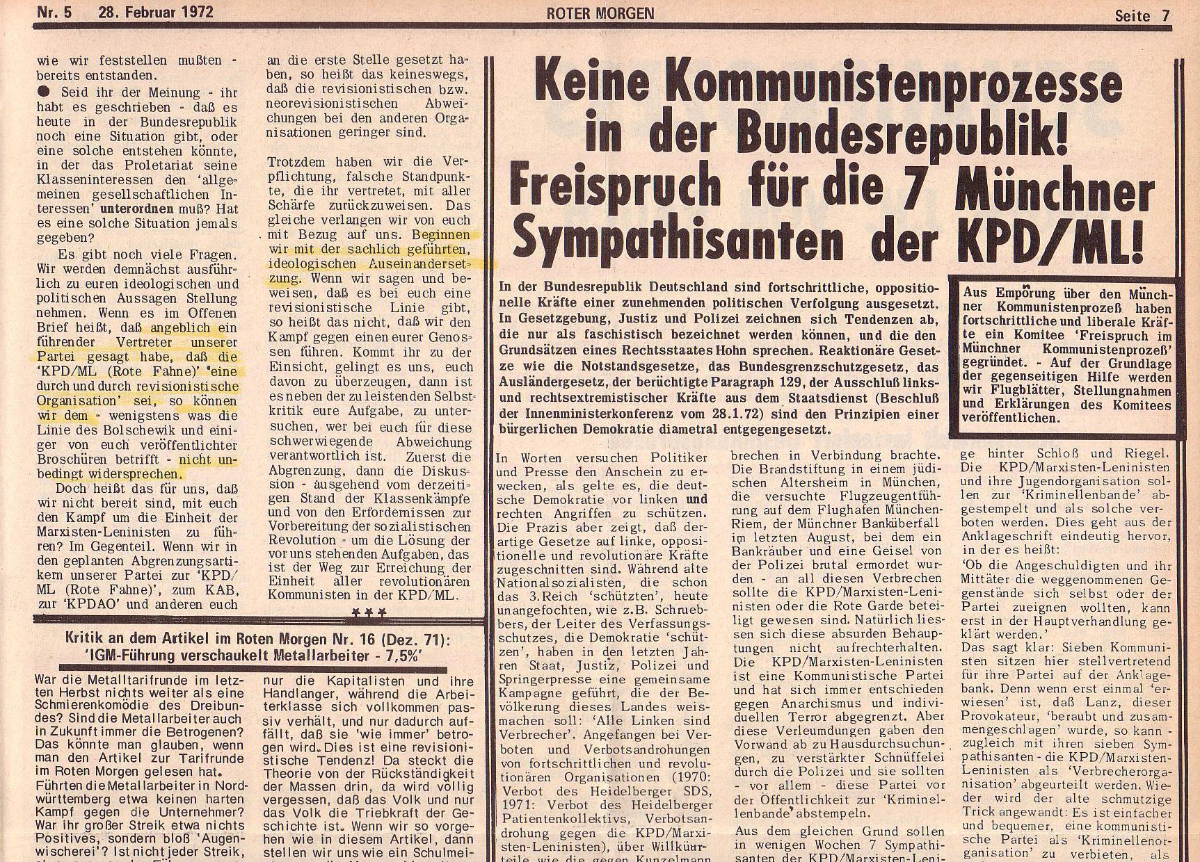 Roter Morgen, 6. Jg., 28. Februar 1972, Nr. 5, Seite 7a