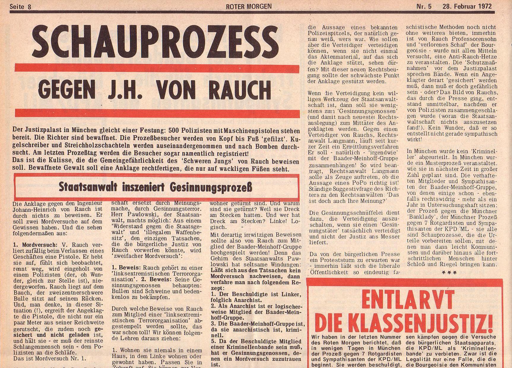 Roter Morgen, 6. Jg., 28. Februar 1972, Nr. 5, Seite 8a