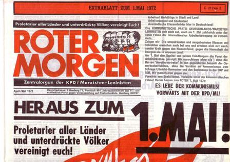 Roter Morgen, April/Mai 1972, Extrablatt zum 1. Mai, S. 1