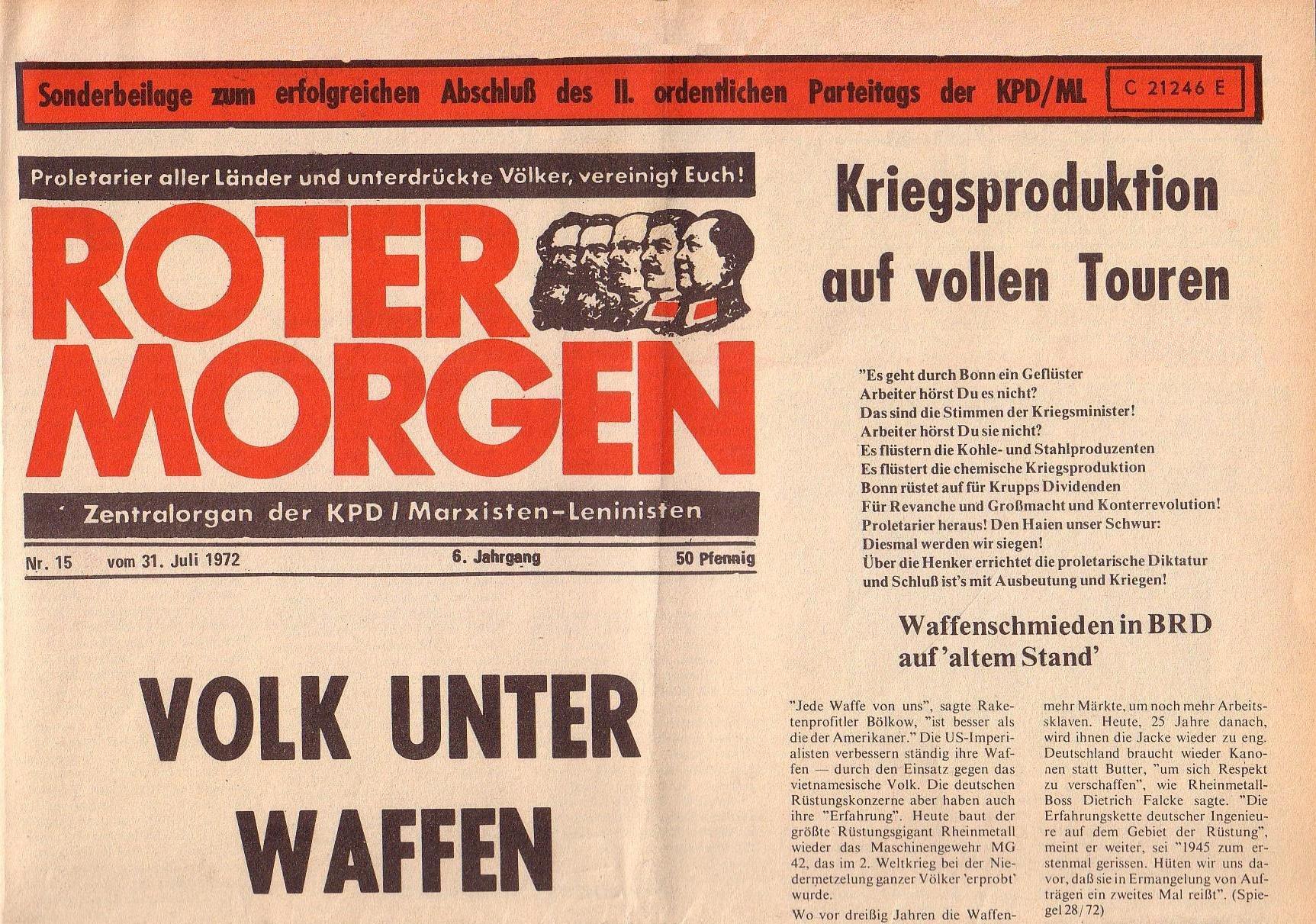 Roter Morgen, 6. Jg., 31. Juli 1972, Nr. 15, Seite 1a