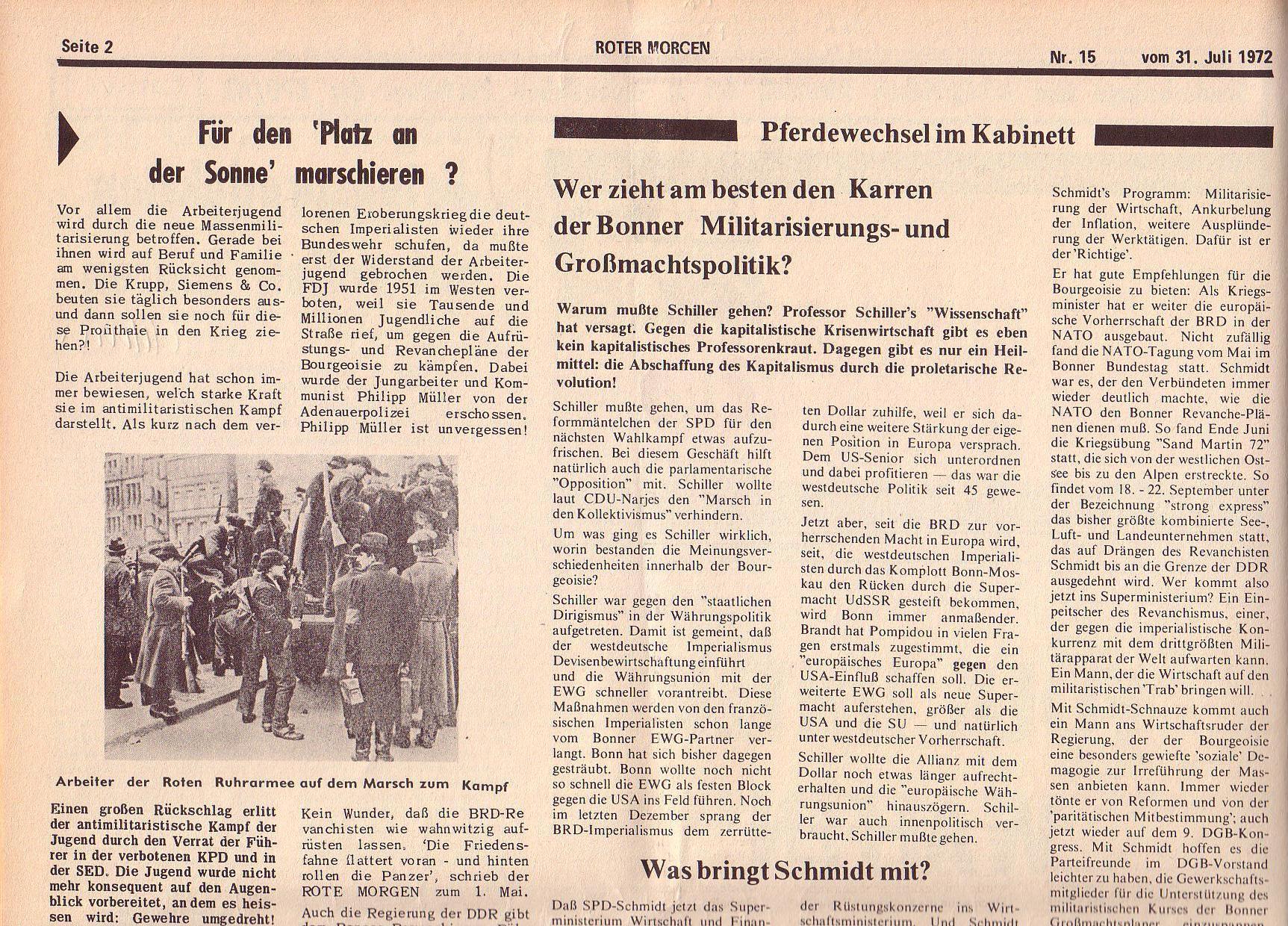 Roter Morgen, 6. Jg., 31. Juli 1972, Nr. 15, Seite 2a