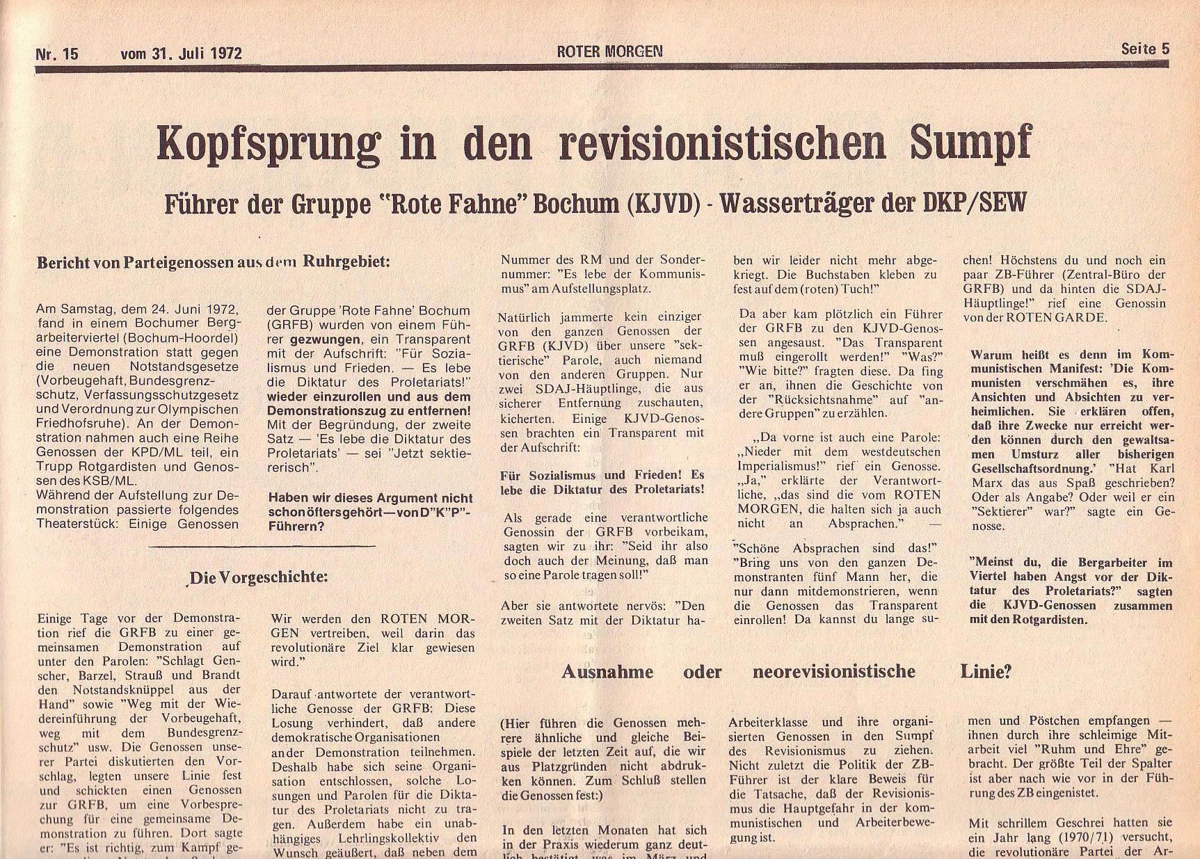 Roter Morgen, 6. Jg., 31. Juli 1972, Nr. 15, Seite 5a