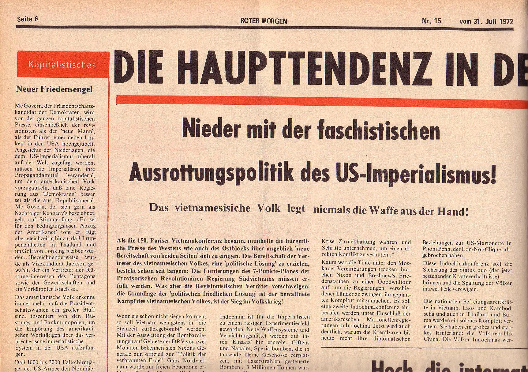 Roter Morgen, 6. Jg., 31. Juli 1972, Nr. 15, Seite 6a