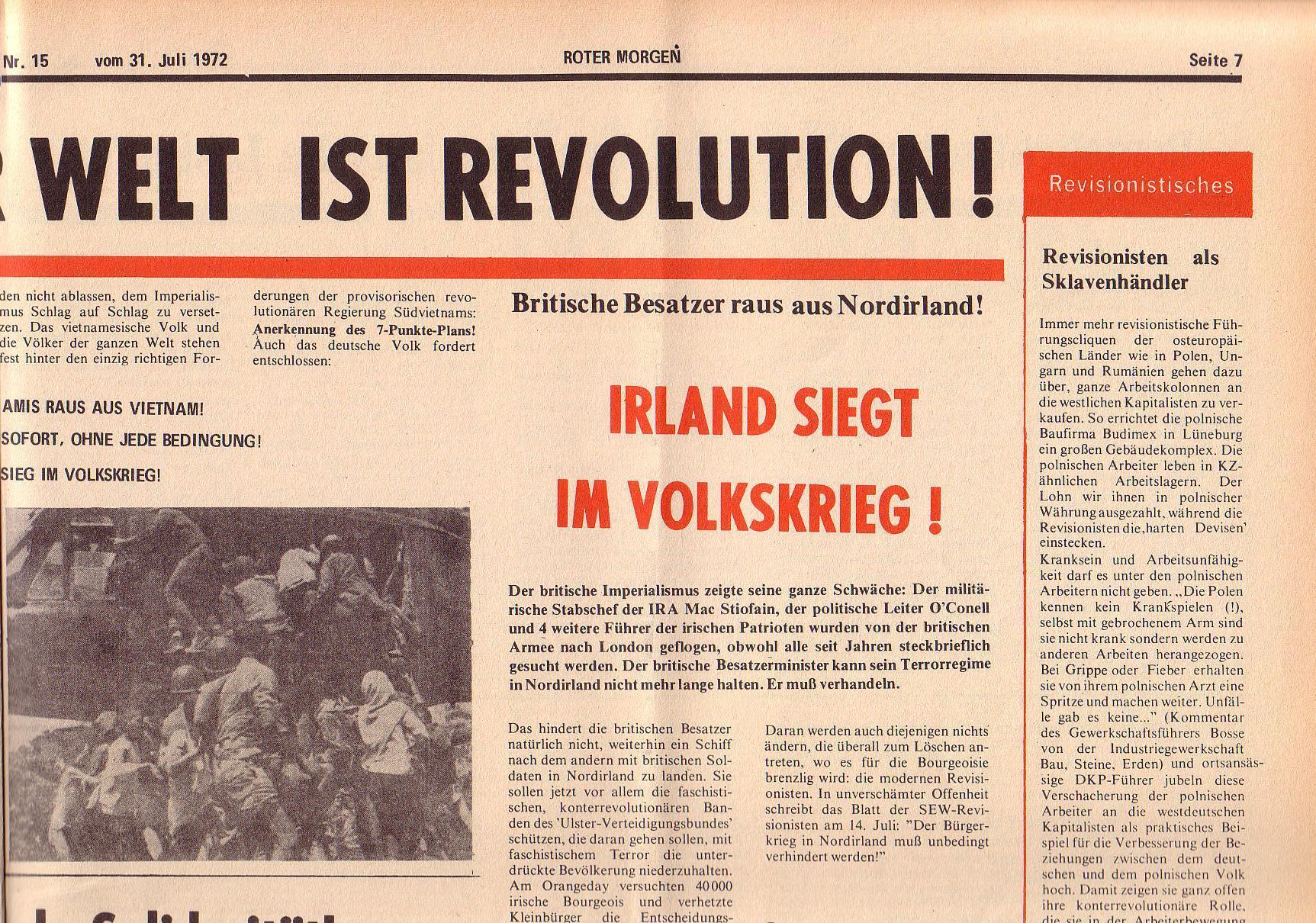 Roter Morgen, 6. Jg., 31. Juli 1972, Nr. 15, Seite 7a