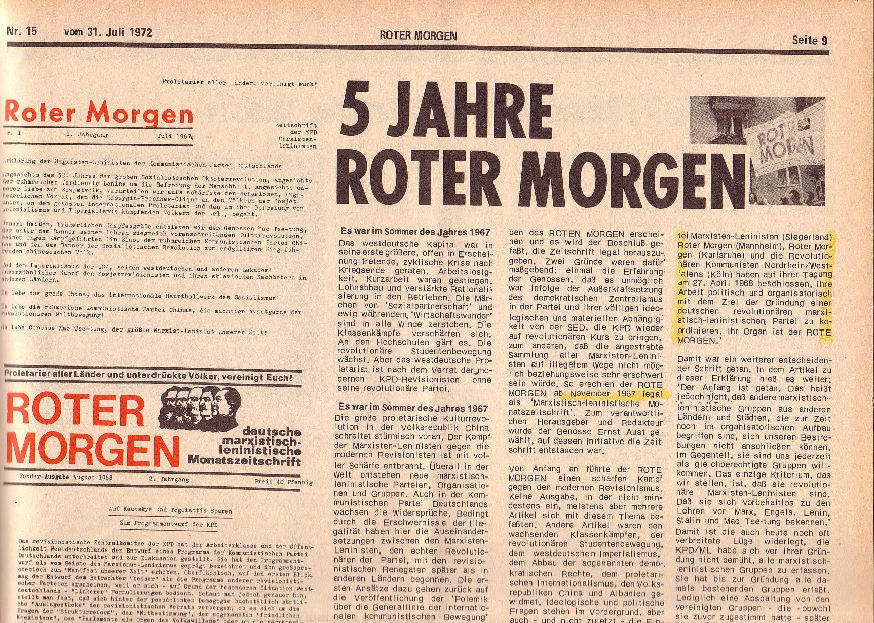 Roter Morgen, 6. Jg., 31. Juli 1972, Nr. 15, Seite 9a