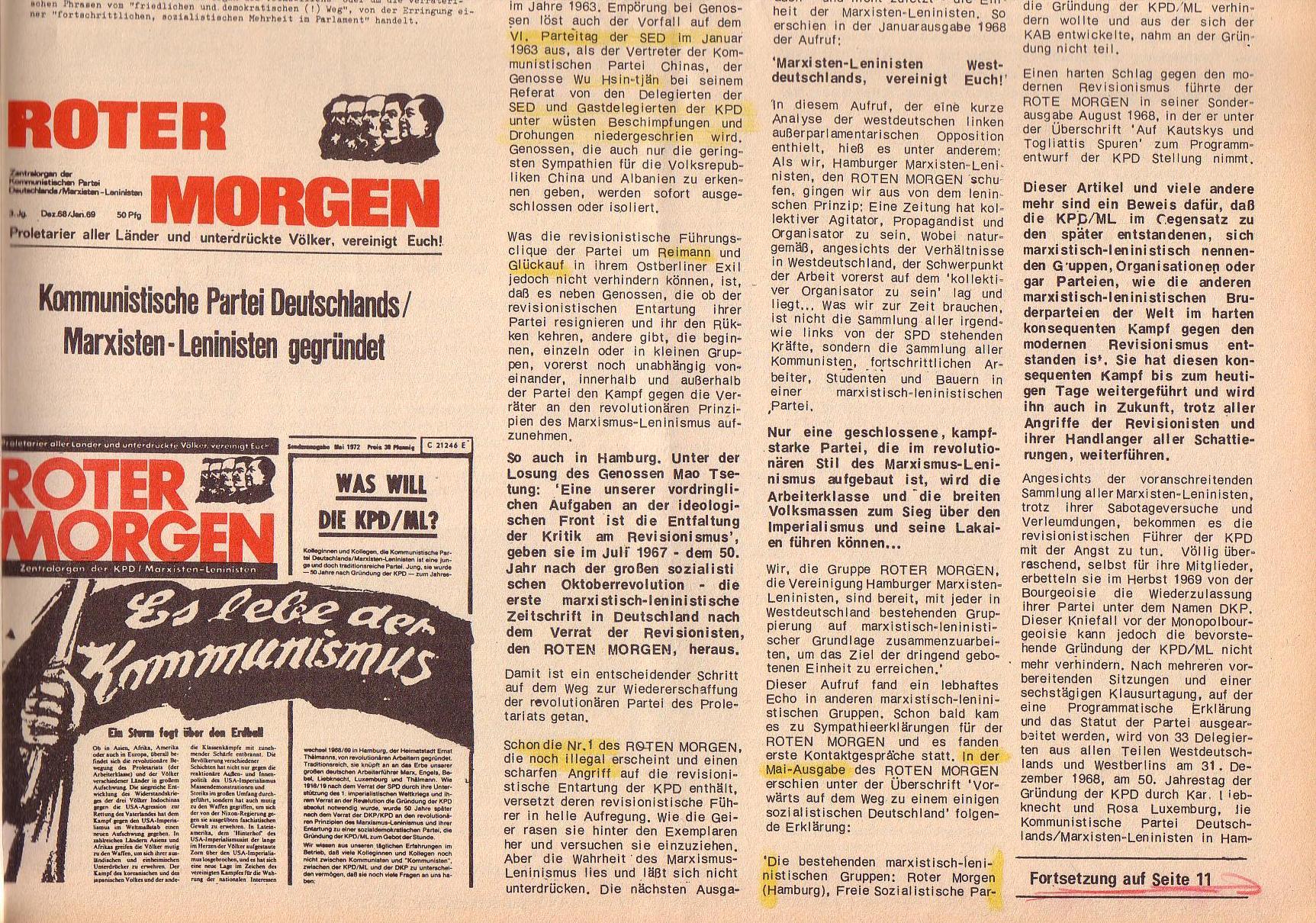 Roter Morgen, 6. Jg., 31. Juli 1972, Nr. 15, Seite 9b