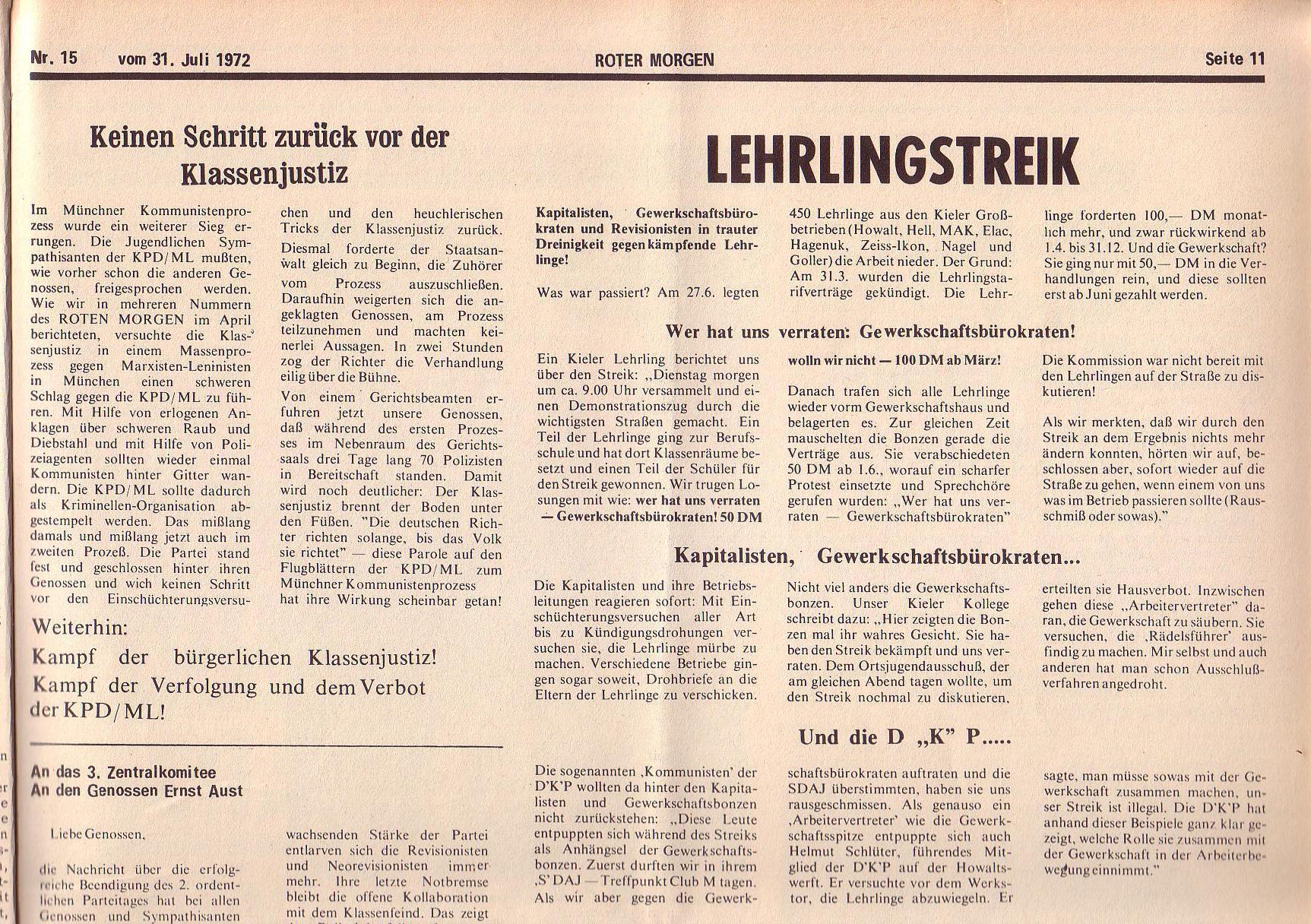 Roter Morgen, 6. Jg., 31. Juli 1972, Nr. 15, Seite 11a