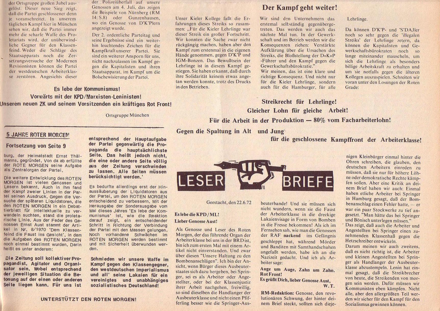 Roter Morgen, 6. Jg., 31. Juli 1972, Nr. 15, Seite 11b