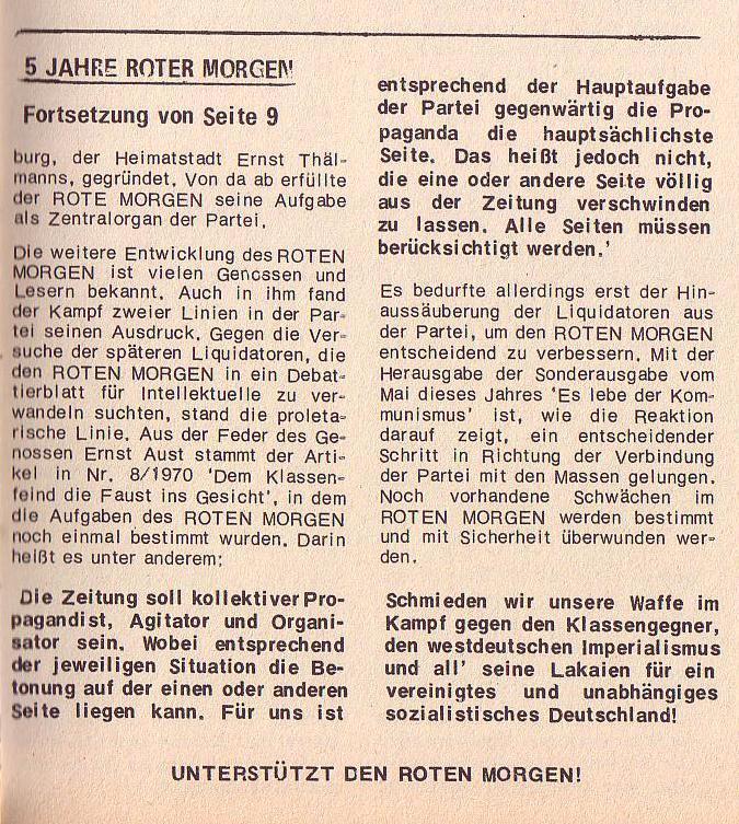 Roter Morgen, 6. Jg., 31. Juli 1972, Nr. 15, Seite 11