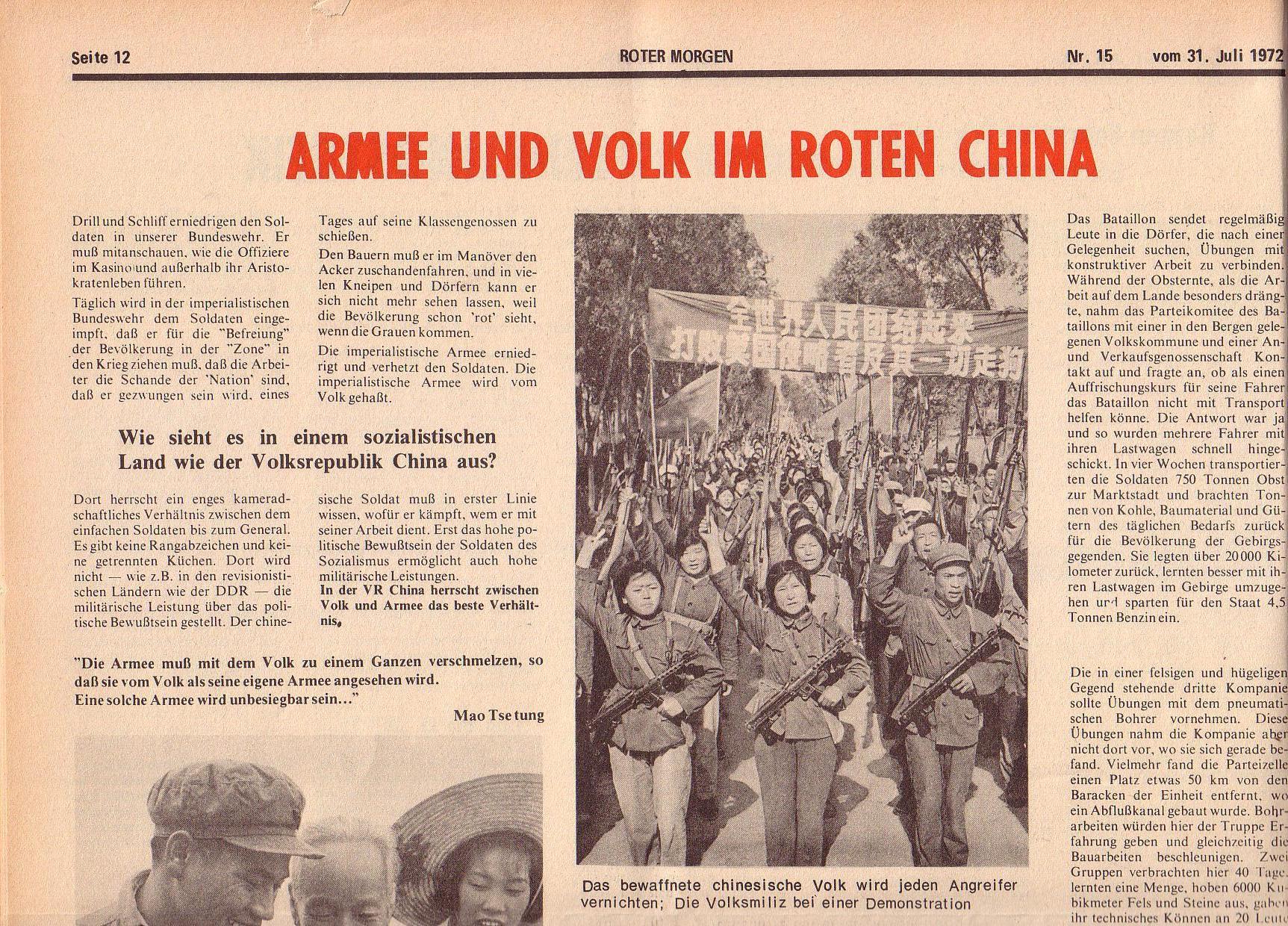 Roter Morgen, 6. Jg., 31. Juli 1972, Nr. 15, Seite 12a