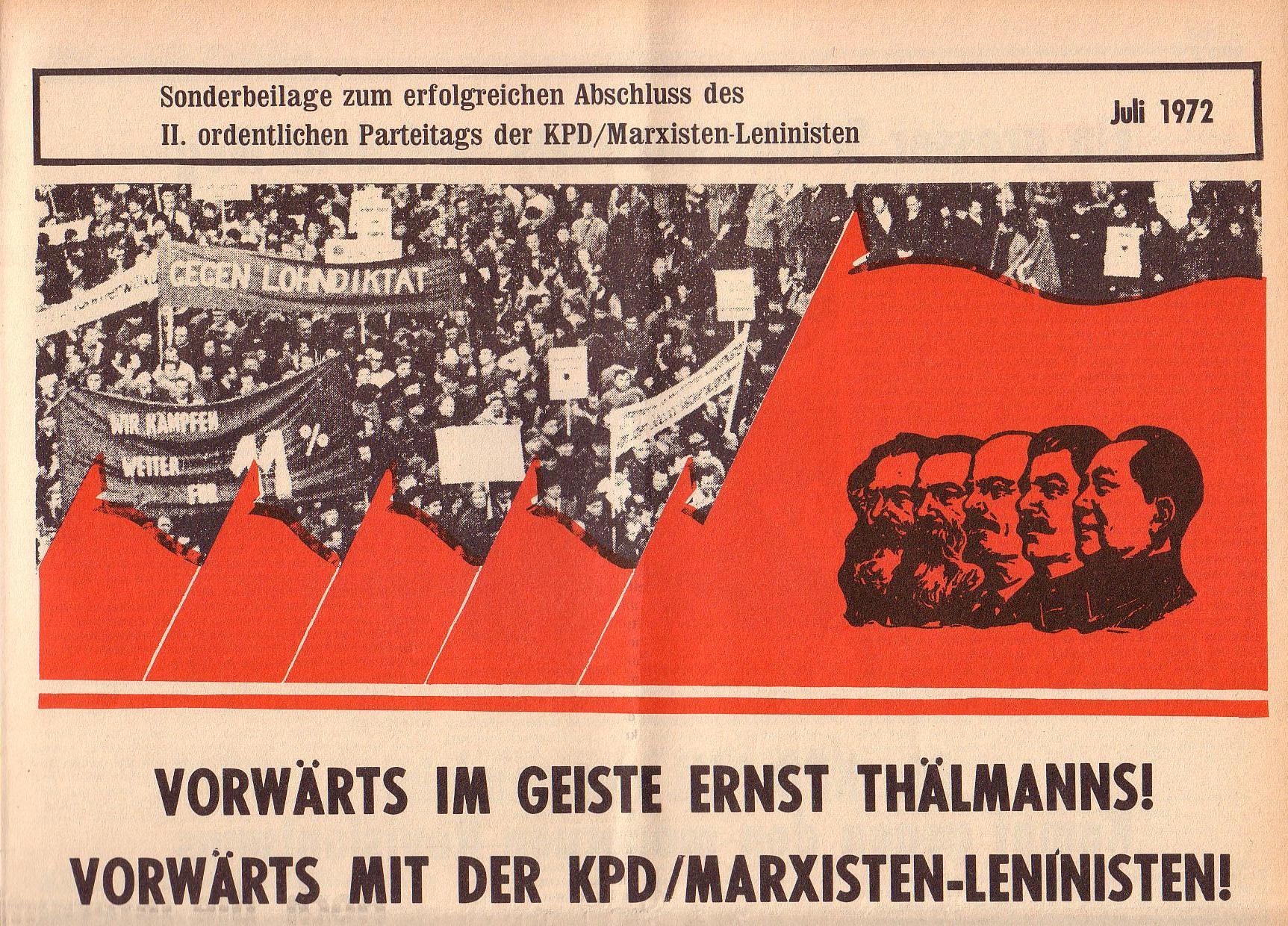 Roter Morgen, 6. Jg., Juli 1972, Sonderbeilage zum II. ordentlichen Parteitag, Seite 1a