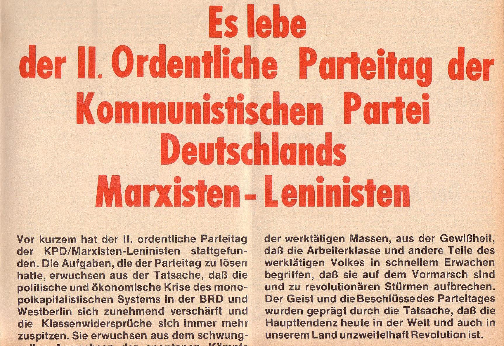 Roter Morgen, 6. Jg., Juli 1972, Sonderbeilage zum II. ordentlichen Parteitag, Seite 1b