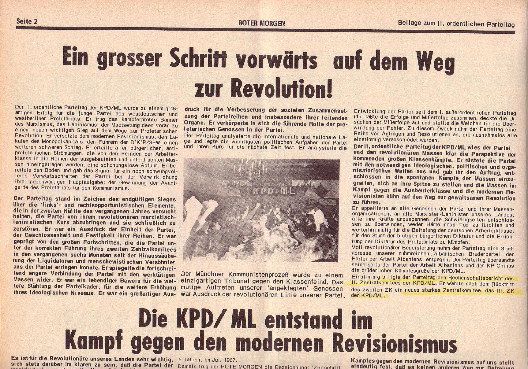 Roter Morgen, 6. Jg., Juli 1972, Sonderbeilage zum II. ordentlichen Parteitag, Seite 2a