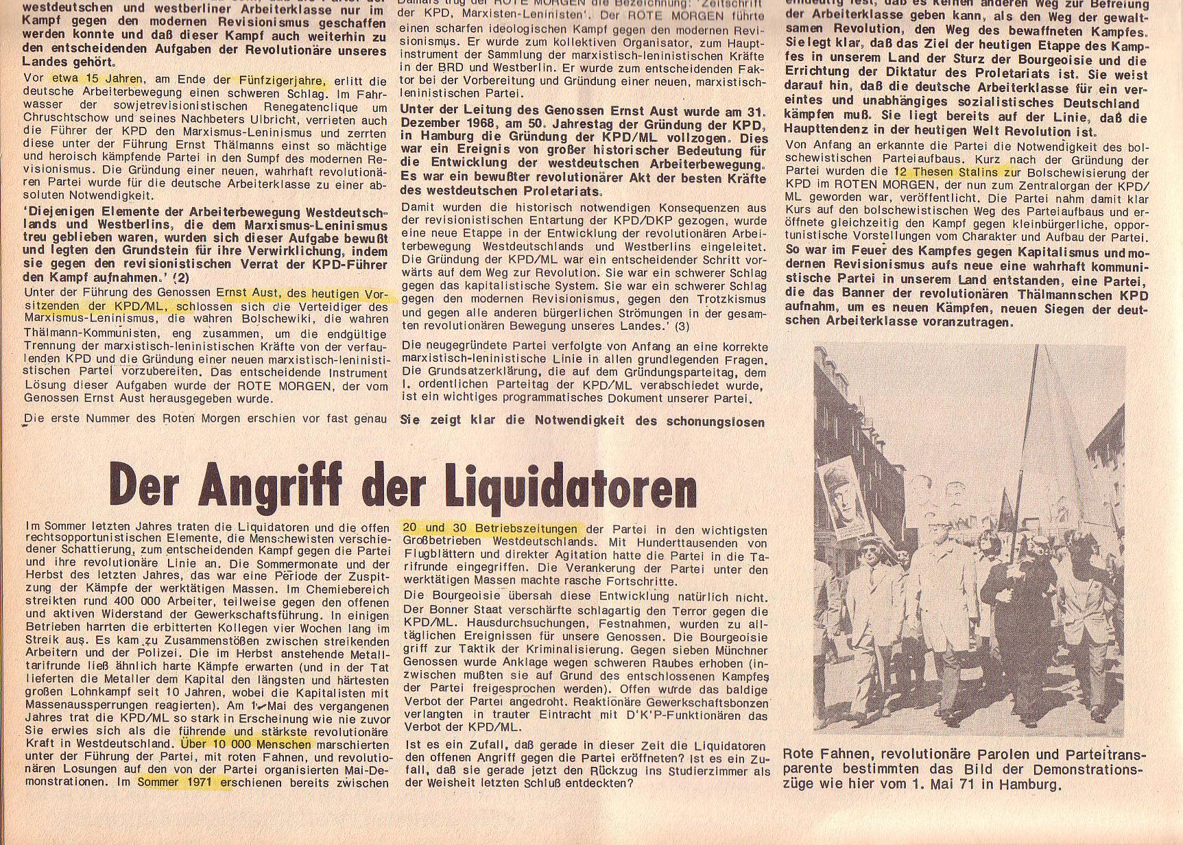 Roter Morgen, 6. Jg., Juli 1972, Sonderbeilage zum II. ordentlichen Parteitag, Seite 2b