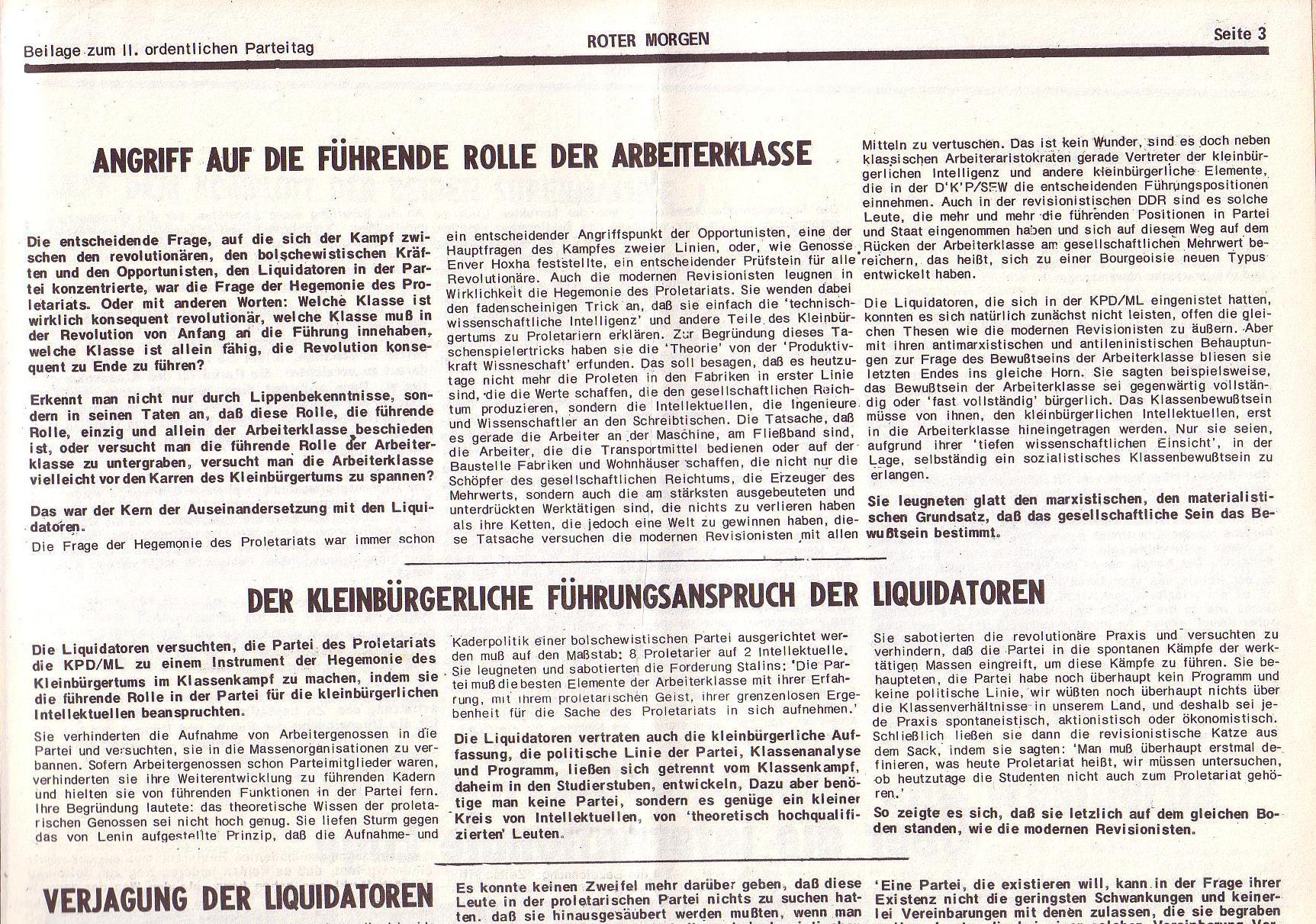 Roter Morgen, 6. Jg., Juli 1972, Sonderbeilage zum II. ordentlichen Parteitag, Seite 3a