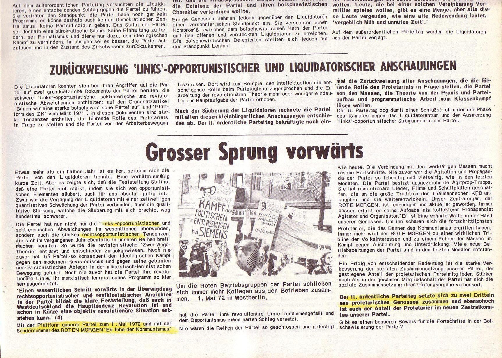 Roter Morgen, 6. Jg., Juli 1972, Sonderbeilage zum II. ordentlichen Parteitag, Seite 3b