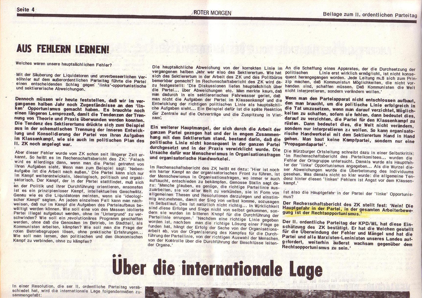 Roter Morgen, 6. Jg., Juli 1972, Sonderbeilage zum II. ordentlichen Parteitag, Seite 4a