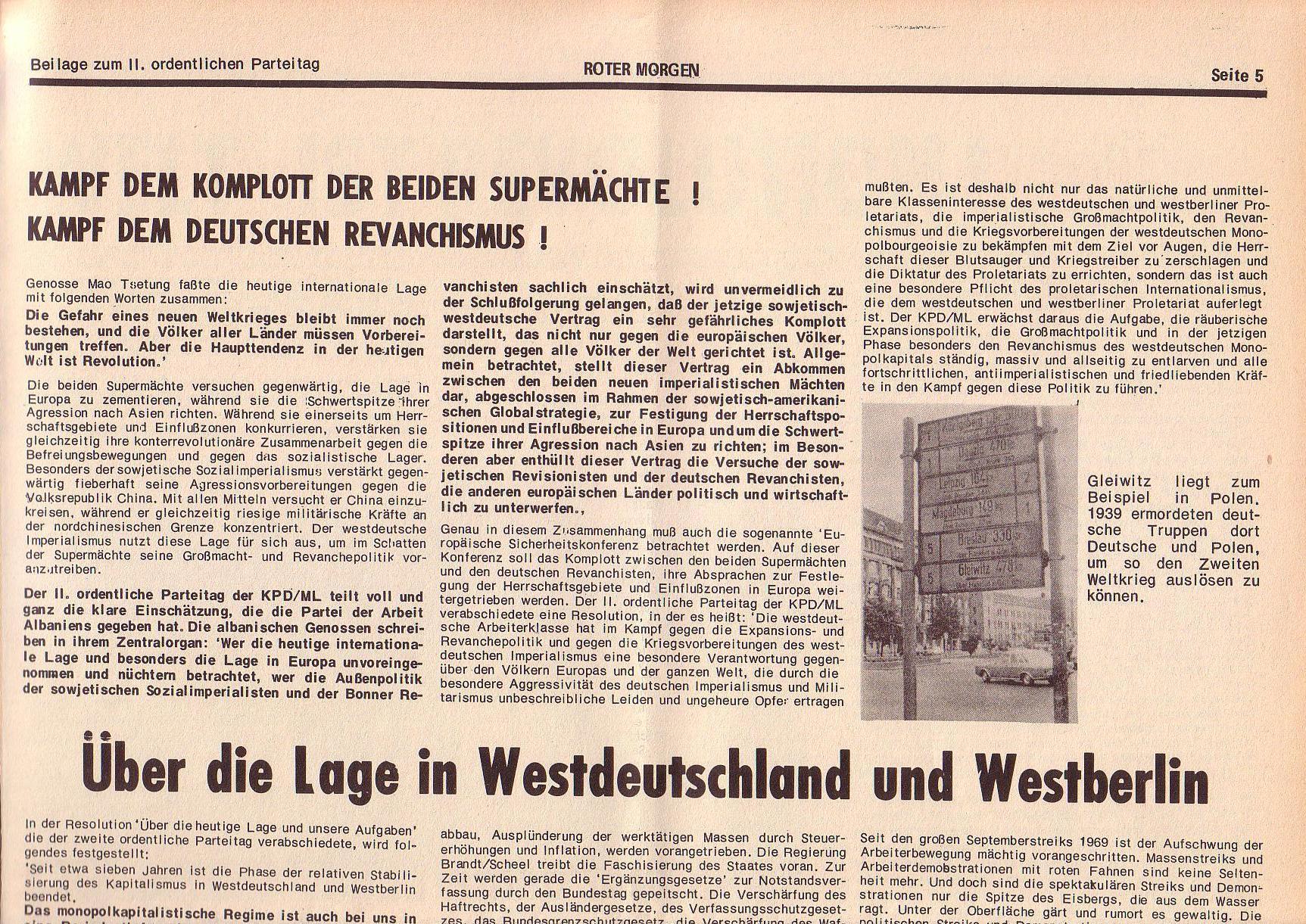 Roter Morgen, 6. Jg., Juli 1972, Sonderbeilage zum II. ordentlichen Parteitag, Seite 5a
