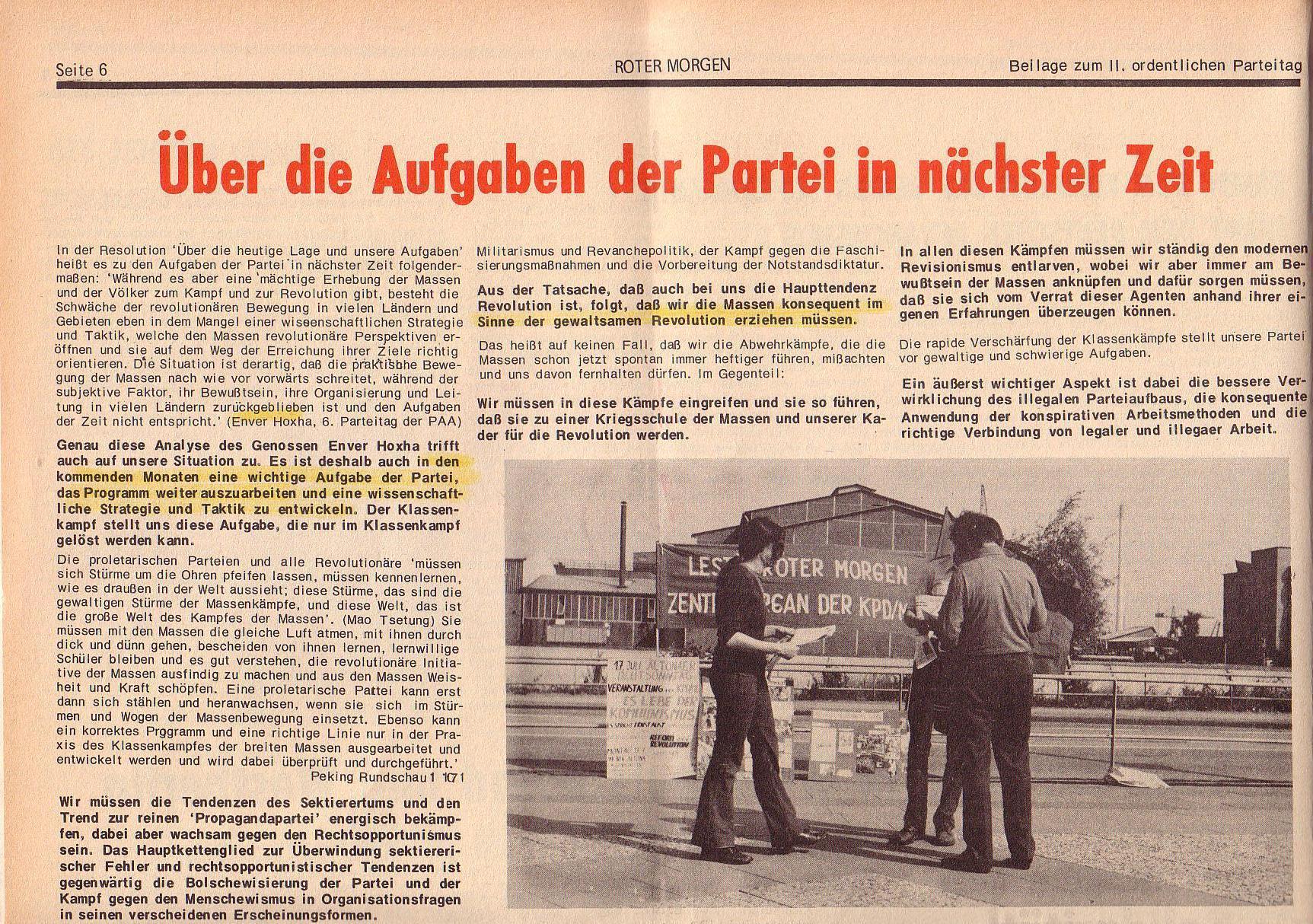 Roter Morgen, 6. Jg., Juli 1972, Sonderbeilage zum II. ordentlichen Parteitag, Seite 6a