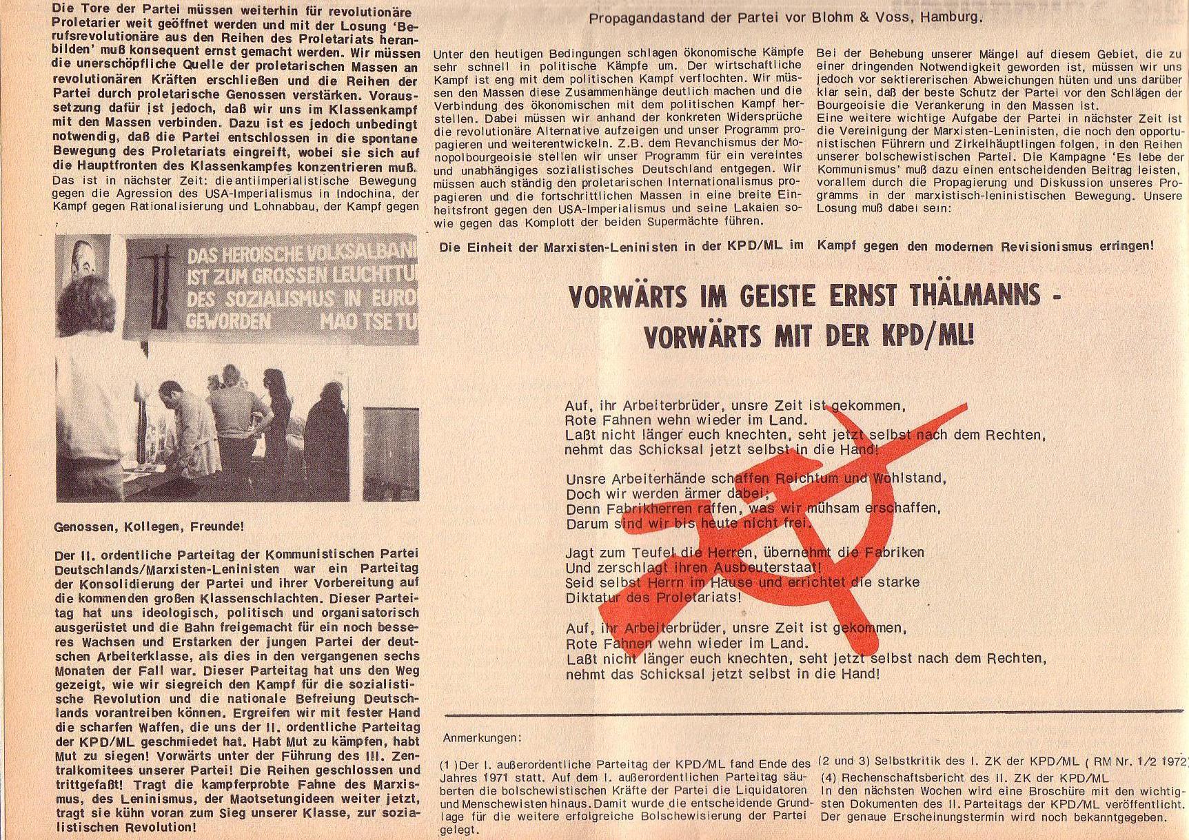 Roter Morgen, 6. Jg., Juli 1972, Sonderbeilage zum II. ordentlichen Parteitag, Seite 6b