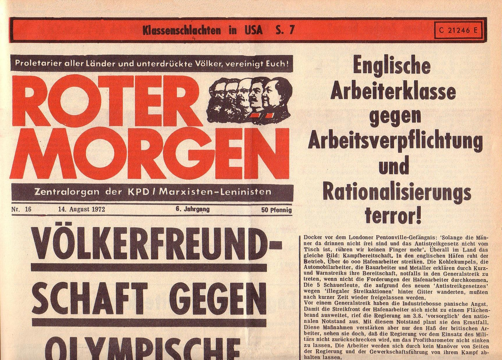 Roter Morgen, 6. Jg., 14. August 1972, Nr. 16, Seite 1a
