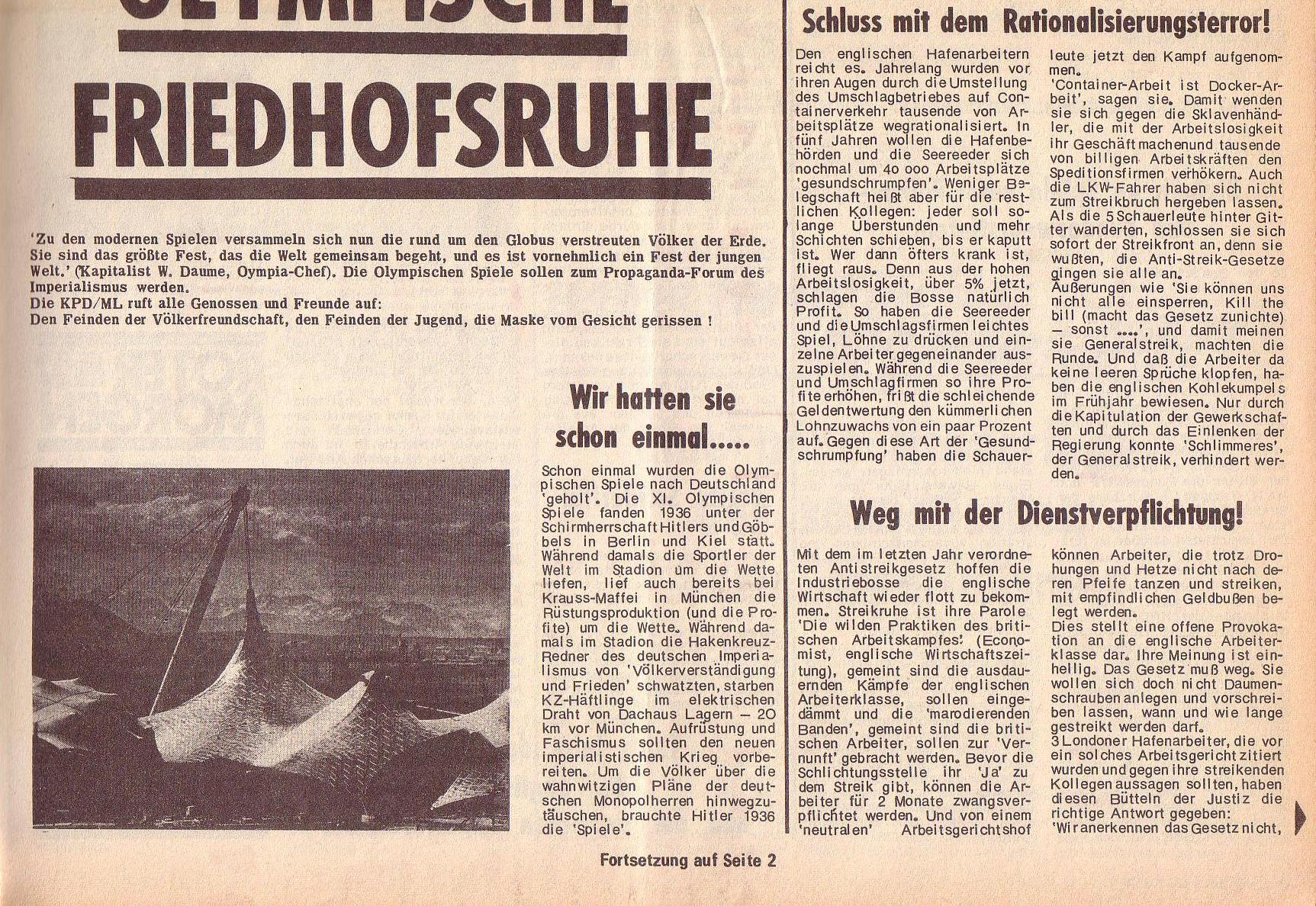 Roter Morgen, 6. Jg., 14. August 1972, Nr. 16, Seite 1b