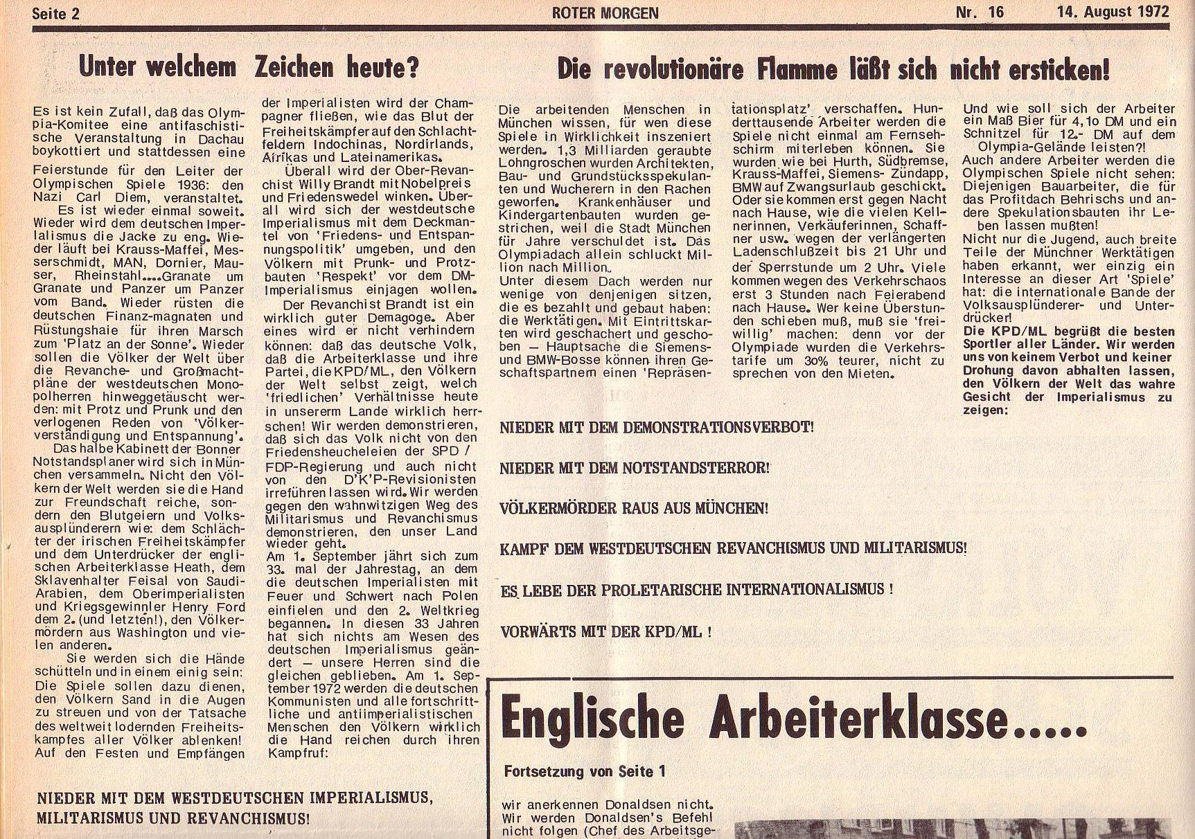 Roter Morgen, 6. Jg., 14. August 1972, Nr. 16, Seite 2a