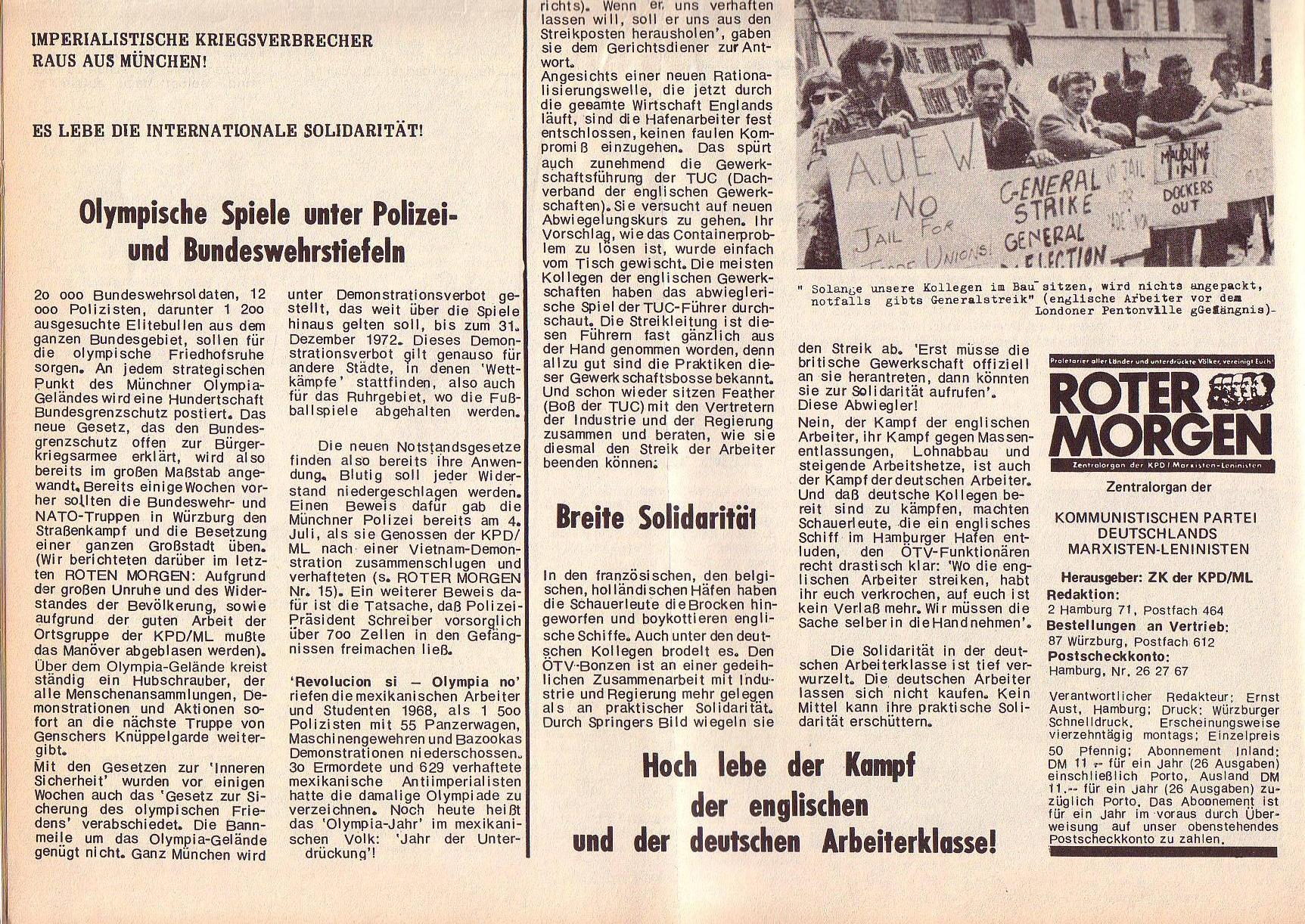 Roter Morgen, 6. Jg., 14. August 1972, Nr. 16, Seite 2b