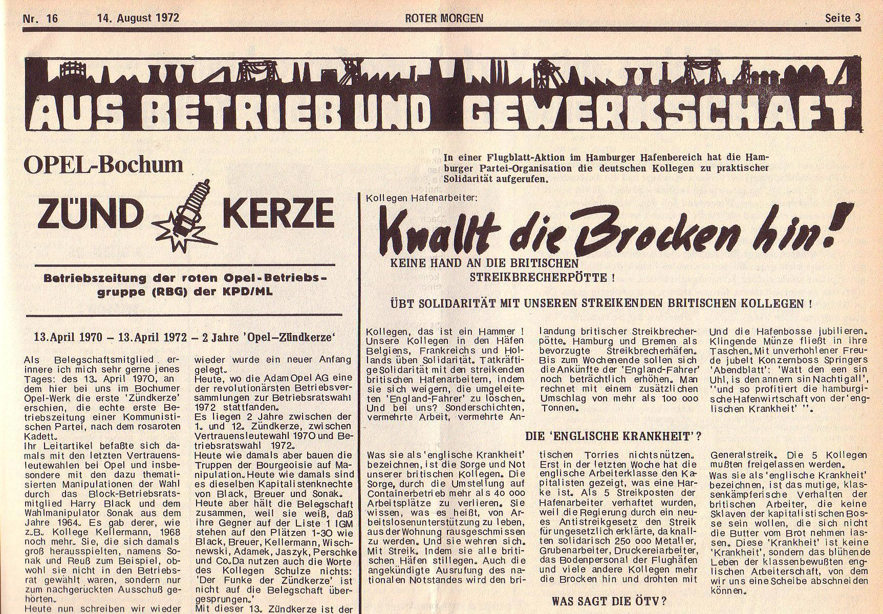 Roter Morgen, 6. Jg., 14. August 1972, Nr. 16, Seite 3a