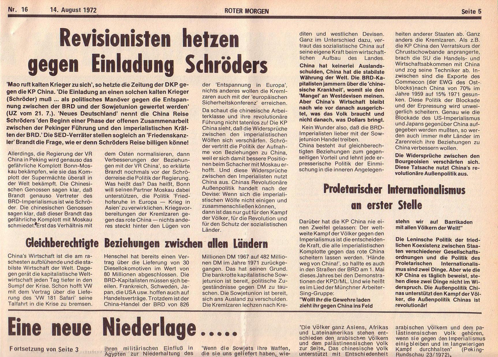 Roter Morgen, 6. Jg., 14. August 1972, Nr. 16, Seite 5a