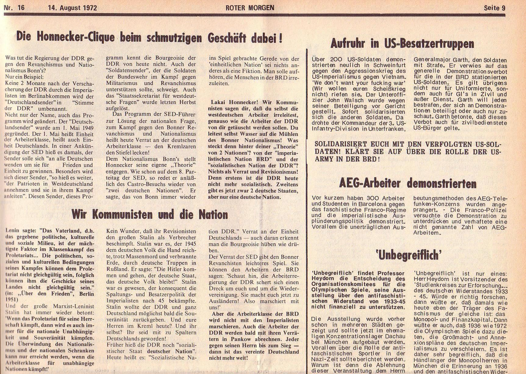 Roter Morgen, 6. Jg., 14. August 1972, Nr. 16, Seite 9a