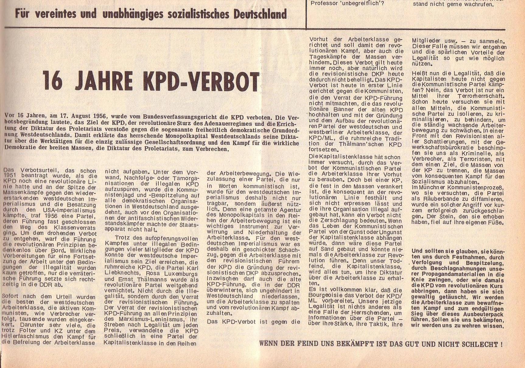 Roter Morgen, 6. Jg., 14. August 1972, Nr. 16, Seite 9b
