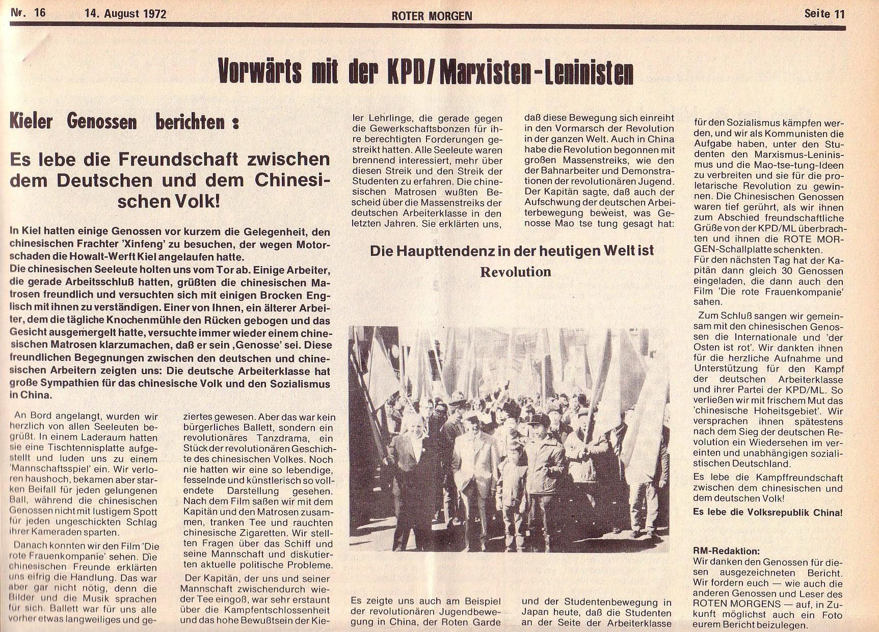 Roter Morgen, 6. Jg., 14. August 1972, Nr. 16, Seite 11a