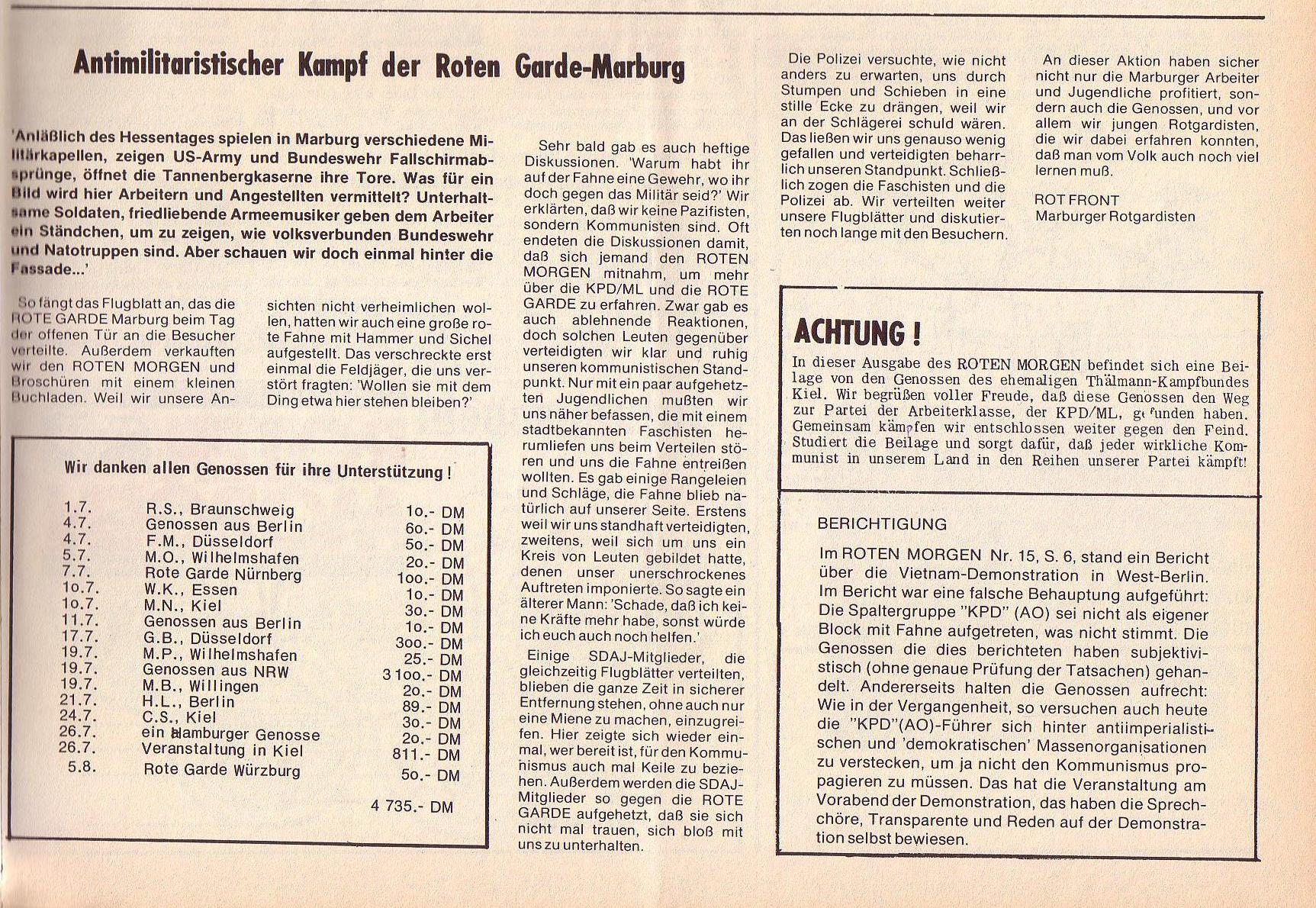 Roter Morgen, 6. Jg., 14. August 1972, Nr. 16, Seite 11b