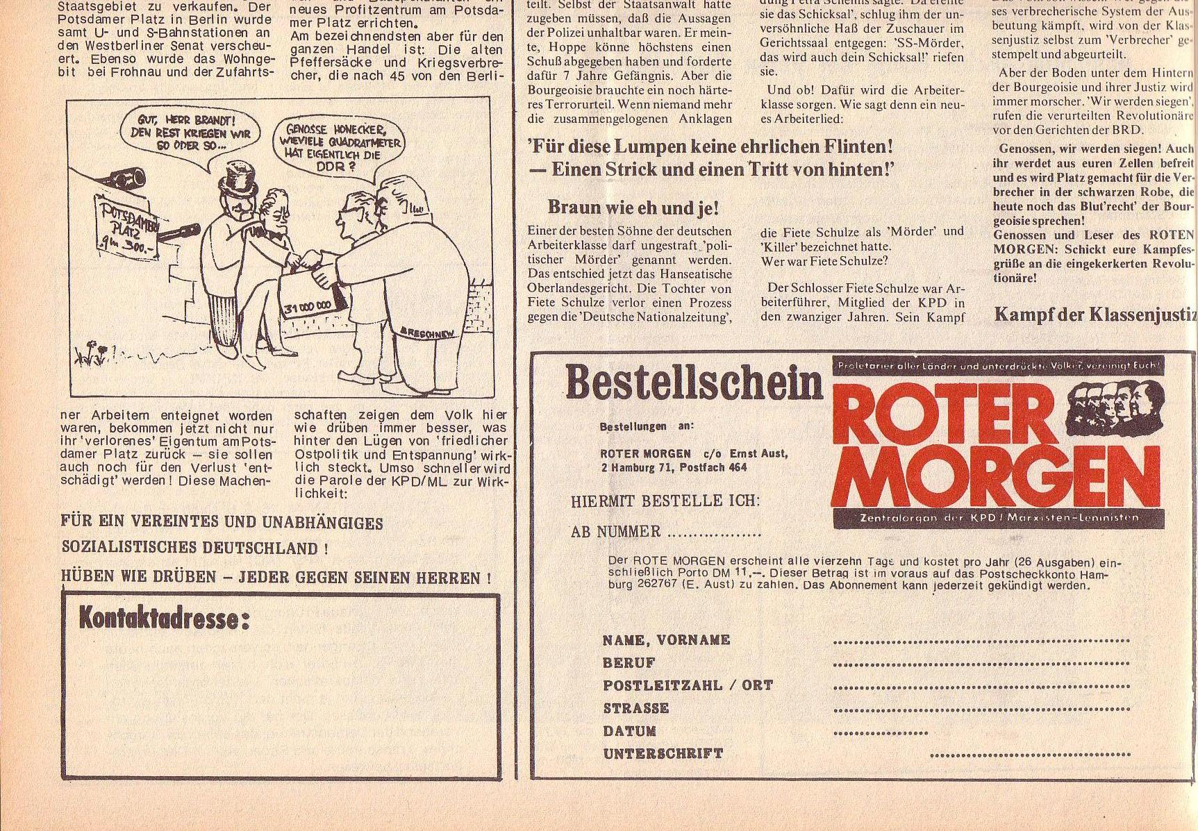 Roter Morgen, 6. Jg., 14. August 1972, Nr. 16, Seite 12b