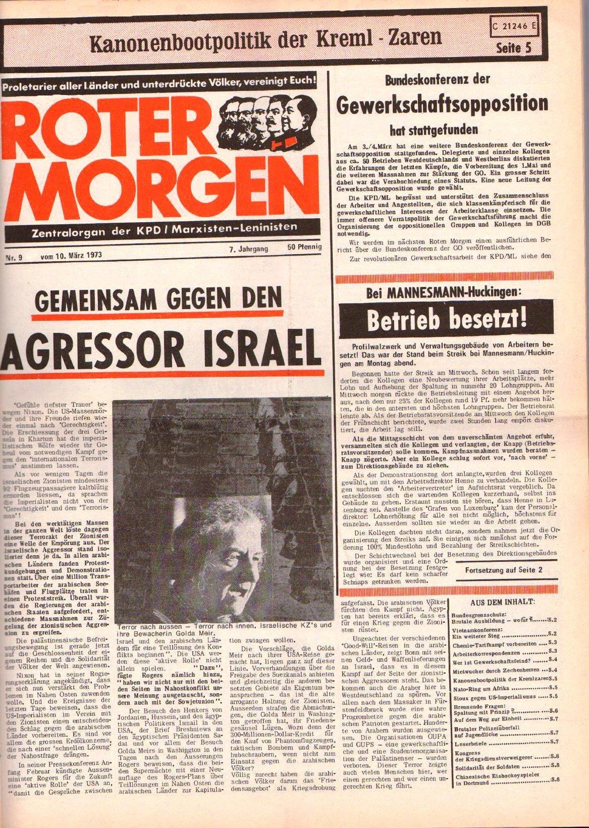 Roter Morgen, 7. Jg., 10. März 1973, Nr. 9, Seite 1