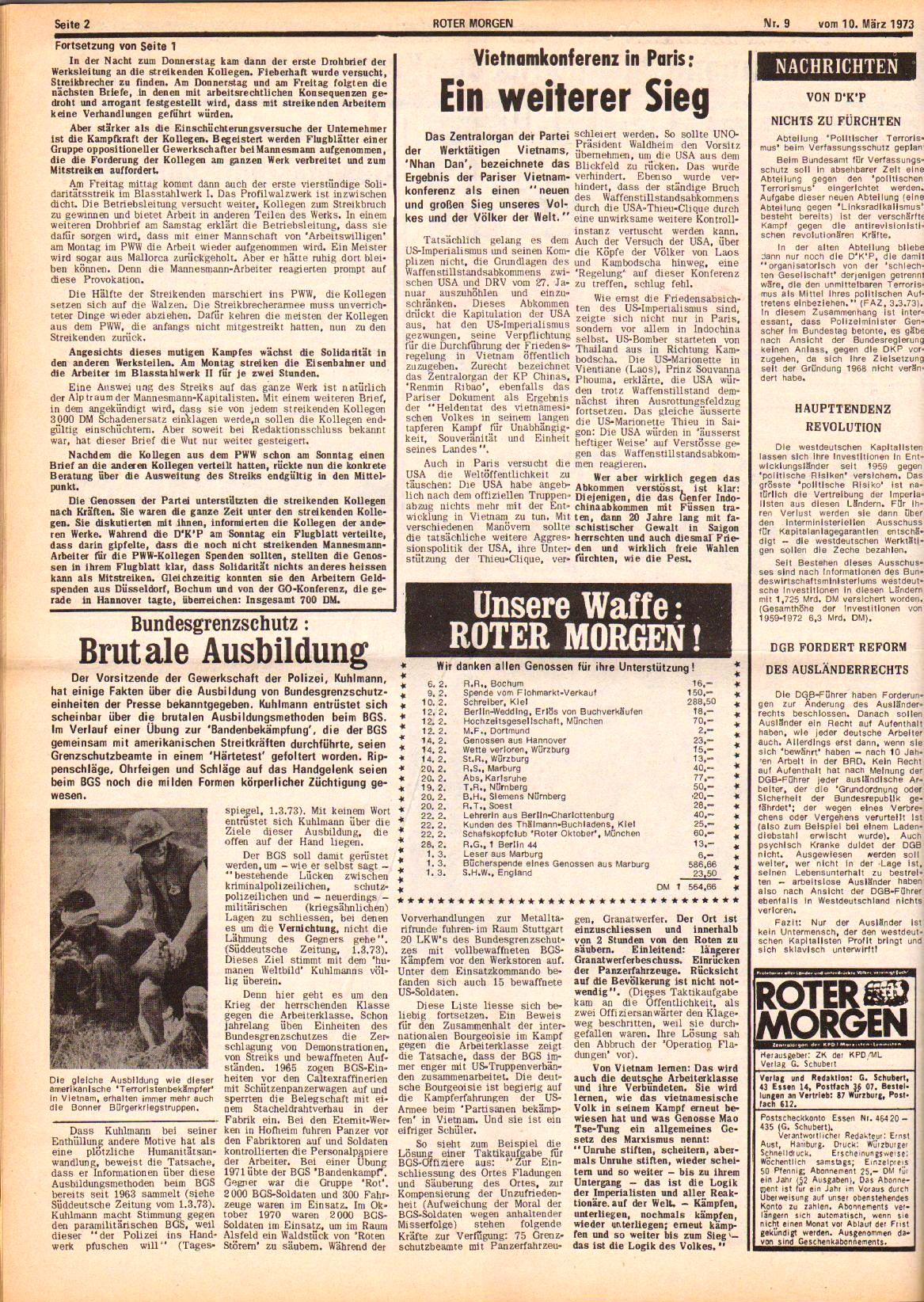 Roter Morgen, 7. Jg., 10. März 1973, Nr. 9, Seite 2