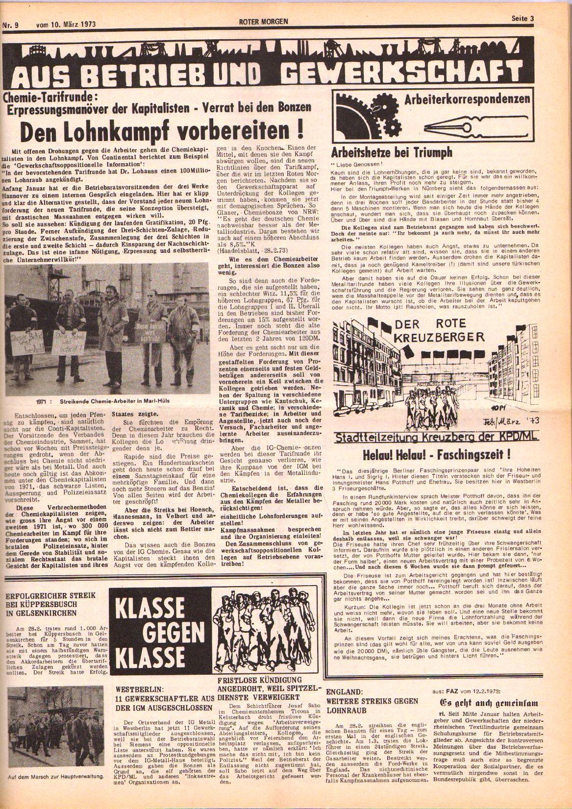 Roter Morgen, 7. Jg., 10. März 1973, Nr. 9, Seite 3