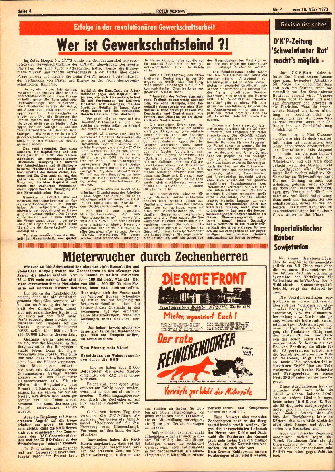 Roter Morgen, 7. Jg., 10. März 1973, Nr. 9, Seite 4