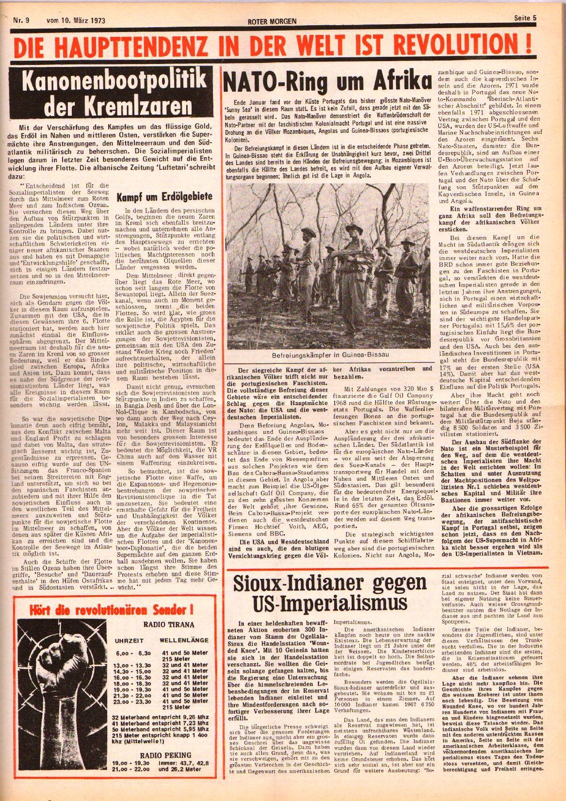 Roter Morgen, 7. Jg., 10. März 1973, Nr. 9, Seite 5
