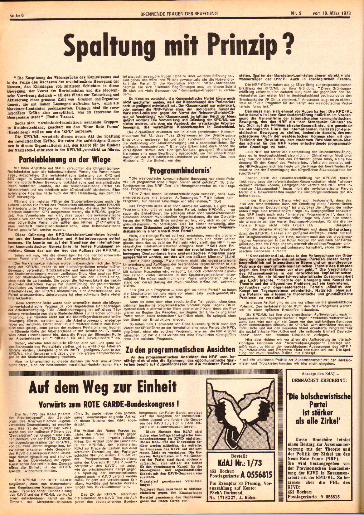 Roter Morgen, 7. Jg., 10. März 1973, Nr. 9, Seite 6