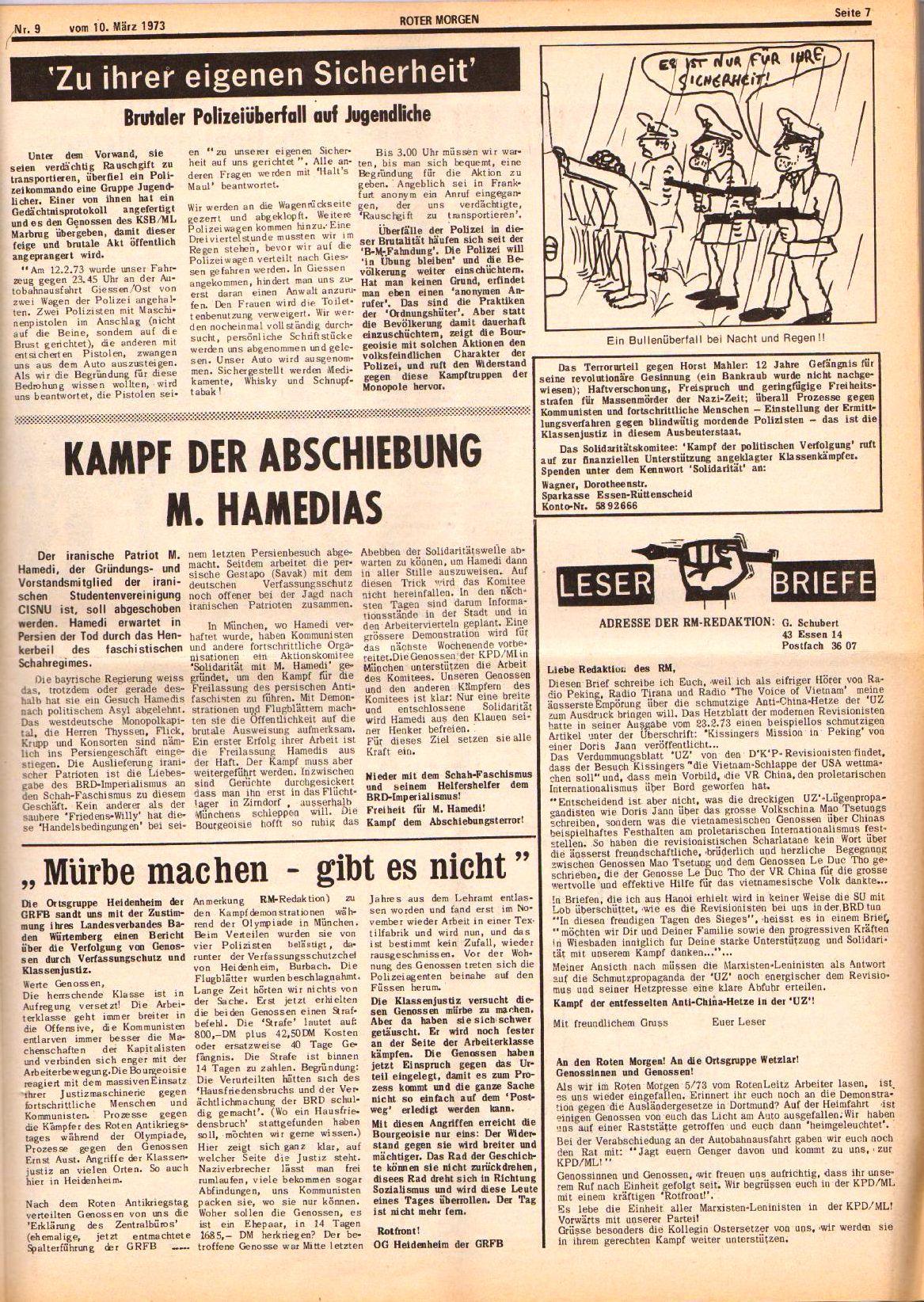 Roter Morgen, 7. Jg., 10. März 1973, Nr. 9, Seite 7