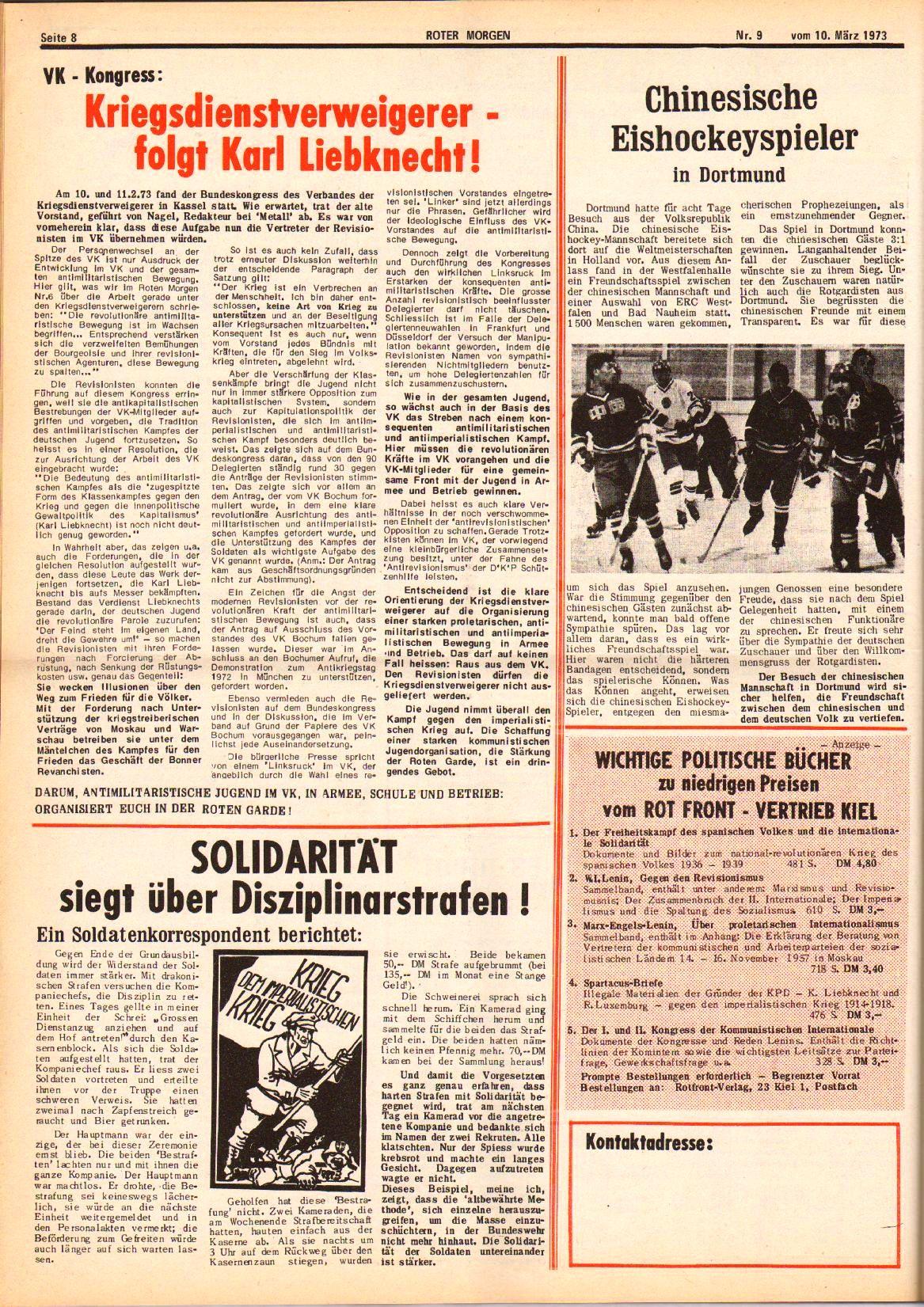 Roter Morgen, 7. Jg., 10. März 1973, Nr. 9, Seite 8
