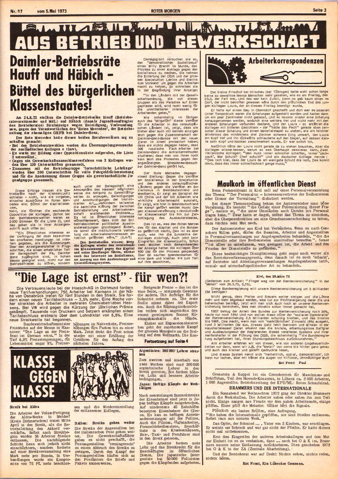 Roter Morgen, 7. Jg., 5. Mai 1973, Nr. 17, Seite 3