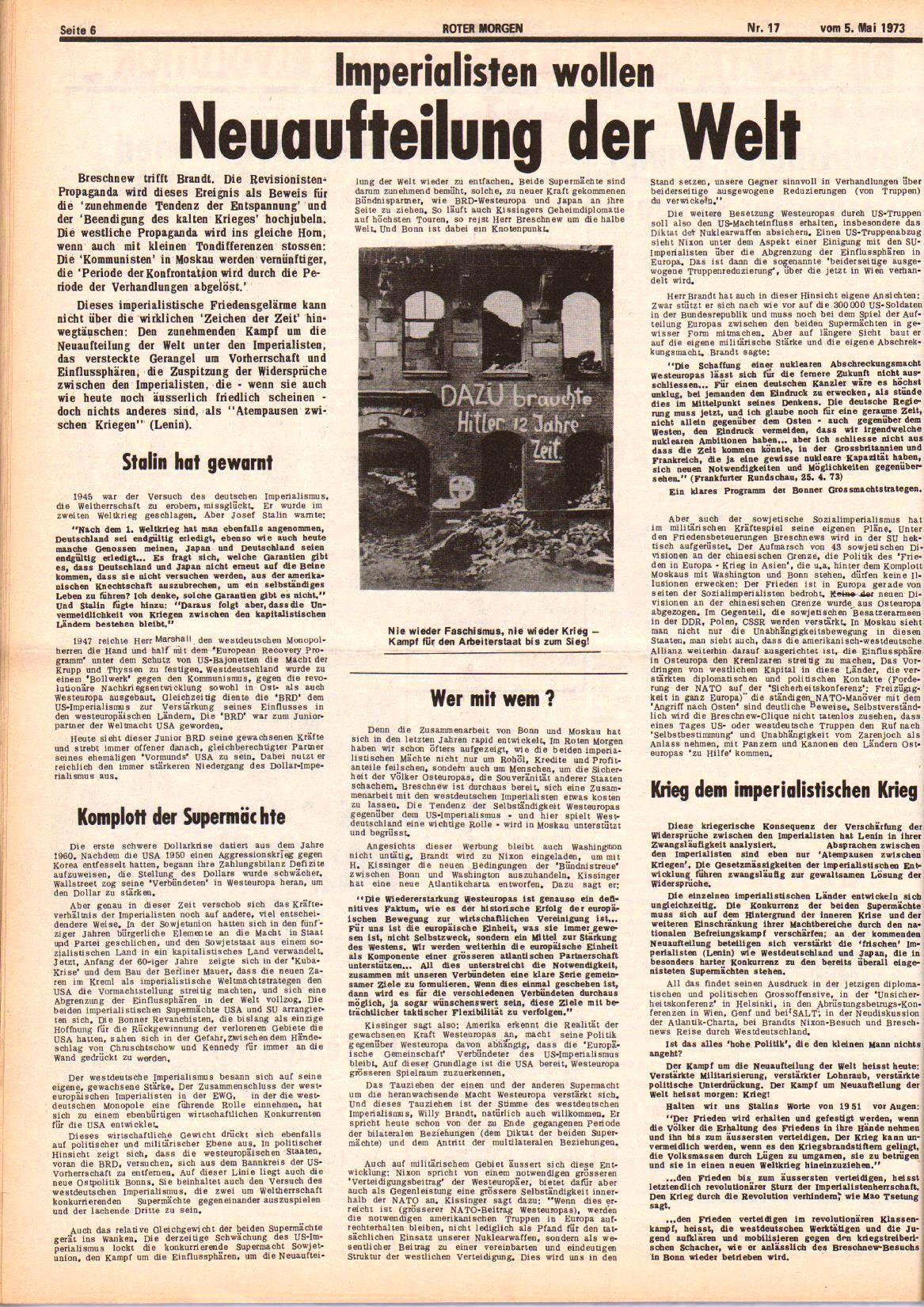 Roter Morgen, 7. Jg., 5. Mai 1973, Nr. 17, Seite 6