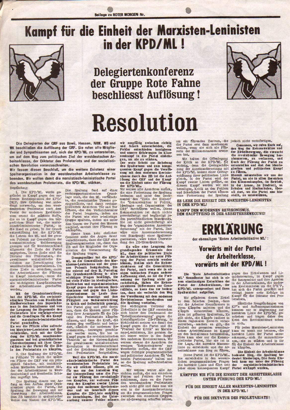 Roter Morgen, 7. Jg., 5. Mai 1973, Nr. 17, Beilage, Seite 1