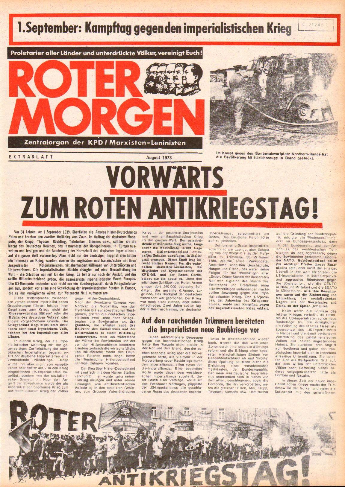 Roter Morgen, 7. Jg., August 1973, Extrablatt, Seite 1