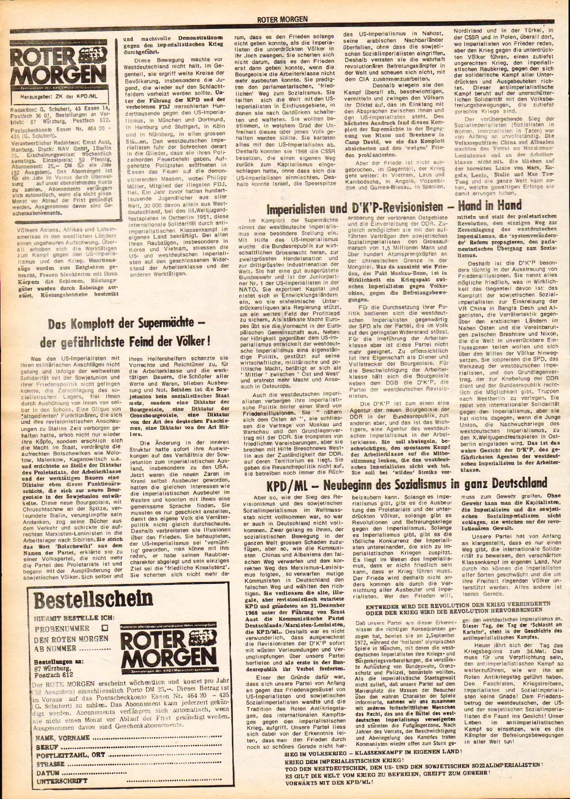 Roter Morgen, 7. Jg., August 1973, Extrablatt, Seite 2