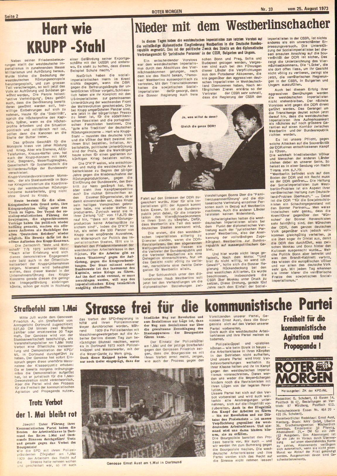 Roter Morgen, 7. Jg., 25. August 1973, Nr. 33, Seite 2